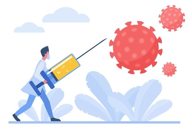 Medico virologo che combatte con il coronavirus utilizzando il concetto di puntura per iniezione di vaccino