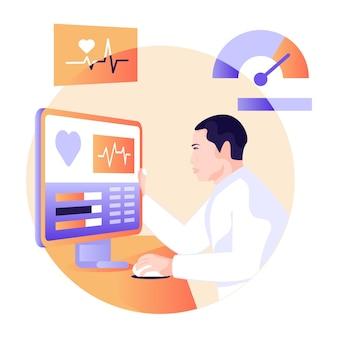 Medico che guarda l'illustrazione piana del monitor ecg