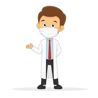 Doctor wearing face mask protegge il virus corona