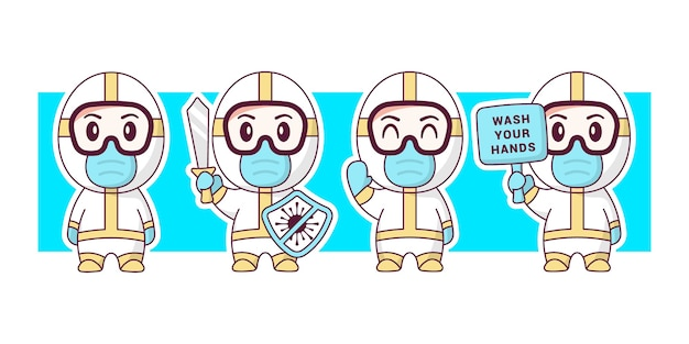 Doctor wearing hazmat suit cute character illustration set.