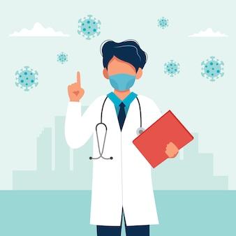 Medico che indossa una maschera medica