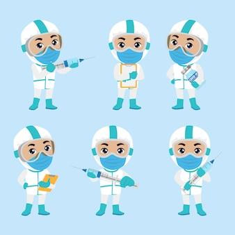Medico che indossa una tuta protettiva per combattere il coronavirus