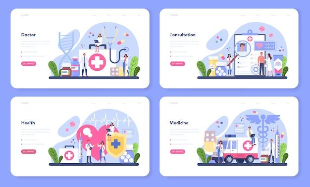 Insieme di web banner web medico