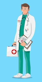 Dottore in camice bianco con stetoscopio e custodia