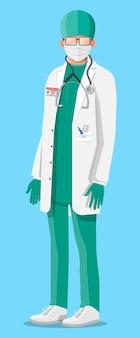 Dottore in camice bianco con stetoscopio e maschera. tuta medica con diverse pillole e dispositivi medici nelle tasche. diagnostica sanitaria, ospedaliera e medica. illustrazione vettoriale in stile piatto