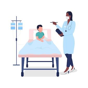 Medico con bambino paziente piatto. trattamento medico.
