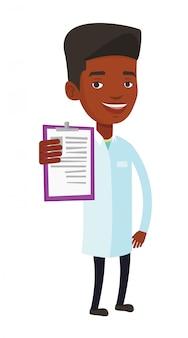 Medico con appunti illustrazione vettoriale.