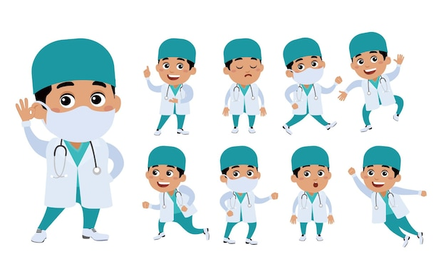 Medico con pose diverse.