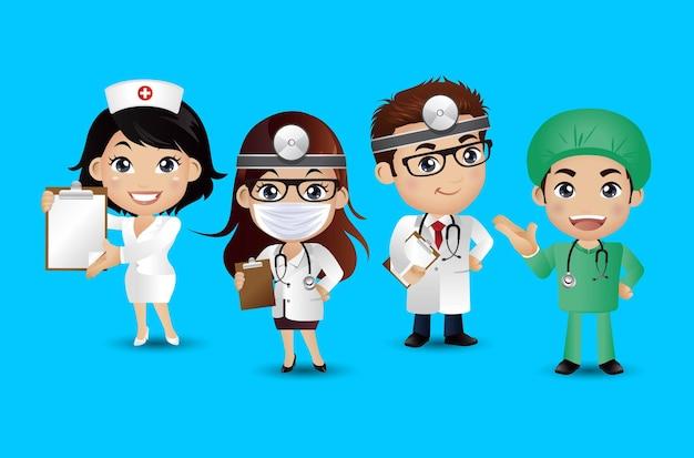 Dottore con diverse pose.