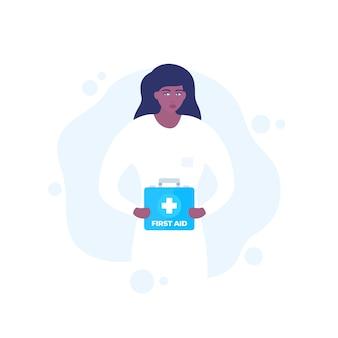 Medico con kit di pronto soccorso nelle mani, arte vettoriale