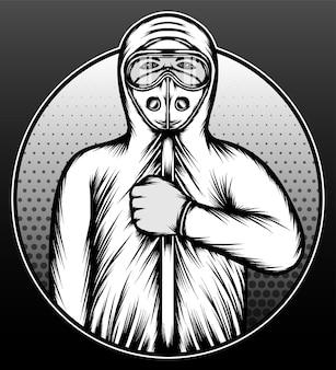 Il medico con la tuta ignifuga disegnata a mano illustrazione design