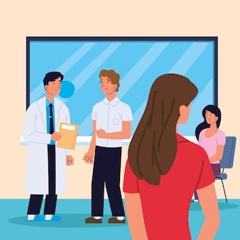 Dottore con i pazienti