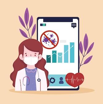 Dottore con app per telefono