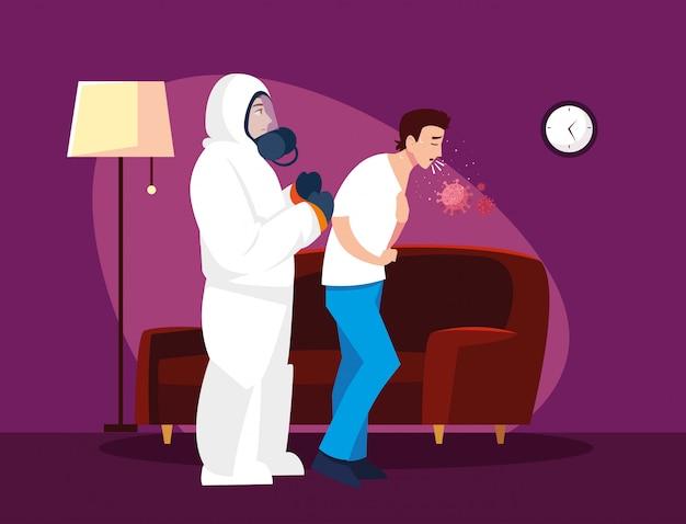 Medico con il vestito protettivo che controlla progettazione di vettore dell'uomo a casa