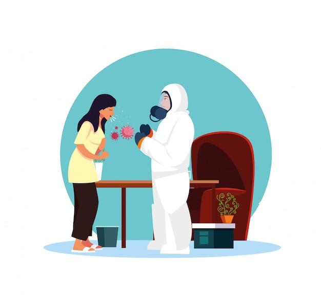Medico con la tuta protettiva che controlla la donna a casa disegno vettoriale Vettore Premium