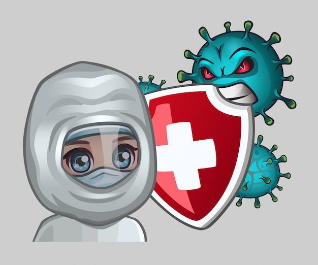 Medico con scudo e virus aggressivi