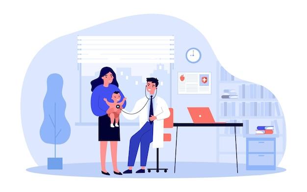 Medico con lo stetoscopio esaminando l'illustrazione del bambino