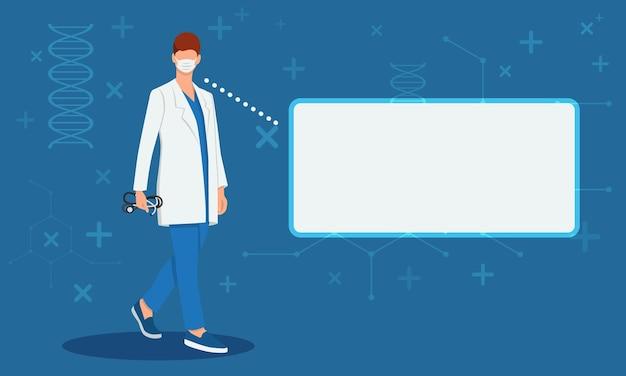Il dottore con uno stetoscopio in mano dà una consultazione