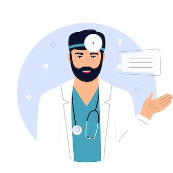 Medico con uno stetoscopio sta tenendo appunti. telemedicina. chattare con un operatore sanitario.
