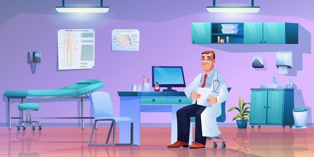 Medico con lo stetoscopio sul posto di lavoro mobili medici moderni