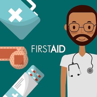 Medico con stetoscopio e medicina di primo soccorso