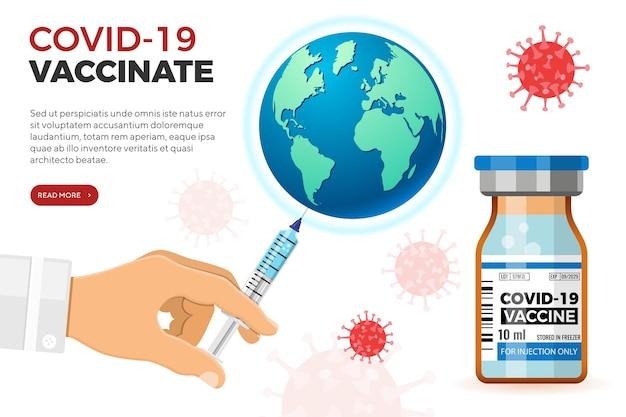 Il medico con la siringa in mano vaccina la terra