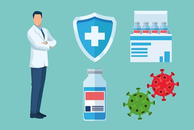 Medico con vaccino set icone illustrazione