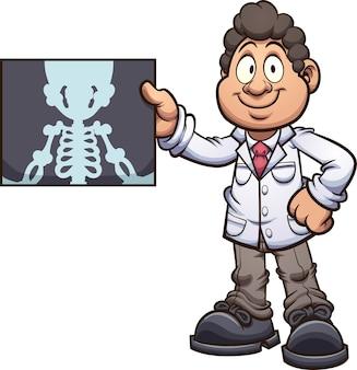 Medico con illustrazione a raggi x