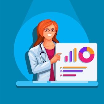 Illustrazione del fumetto di simbolo di presentazione medica di statistica del grafico del bordo della tenuta della donna del medico