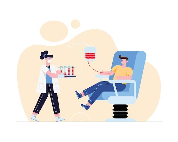 Medico donna e uomo sulla sedia che donano con sacca di sangue su sfondo bianco