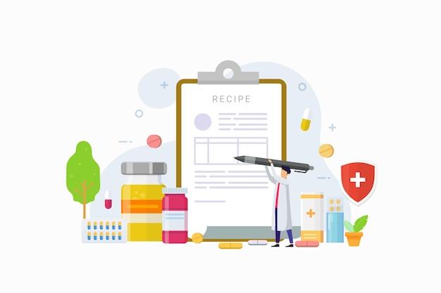 Il medico scrive la firma nella ricetta per l'illustrazione del paziente