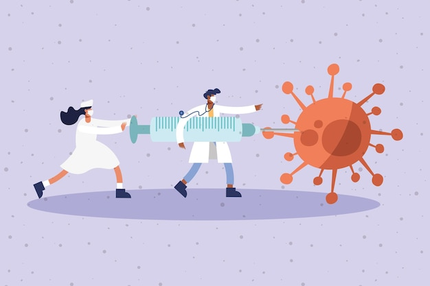 Coppia di medici indossando maschere mediche con siringa e illustrazione di particelle di virus