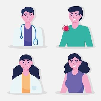 Coppia di medici con illustrazione di caratteri di pazienti