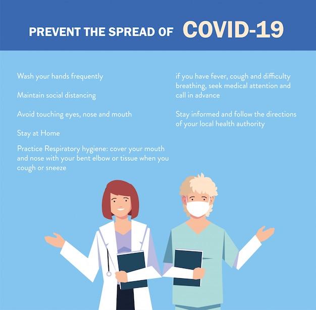 I medici spiegano all'infografica come prevenire la diffusione di covid 19