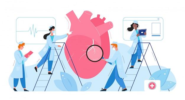 I medici in laboratorio ricercano l'illustrazione piana di vettore di concetto medico di sanità dell'organo del cuore. cardiologi uomini donne controllano il cardiogramma, determinano la diagnosi del trattamento della malattia. ricerca in farmacia Vettore Premium