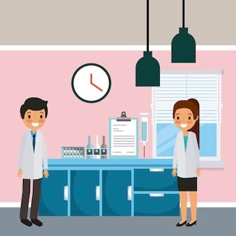 Medici, uomo e donna, reparto ospedaliero, mobili e attrezzature mediche
