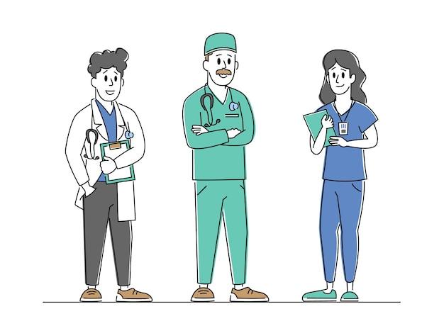 Caratteri di medici e infermieri che indossano accappatoio con strumenti medici