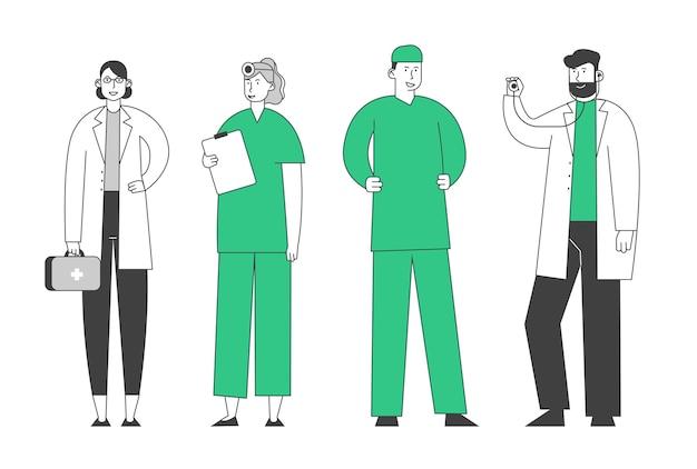 Medici e infermieri in tunica con strumenti medici stanno in fila parlando e comunicando in clinica, personale sanitario ospedaliero al lavoro, professione medica, occupazione,