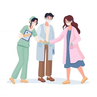 Illustrazione piana del fumetto di lavoro di squadra degli infermieri e dei medici. ferma il concetto di pandemia di covid-19.