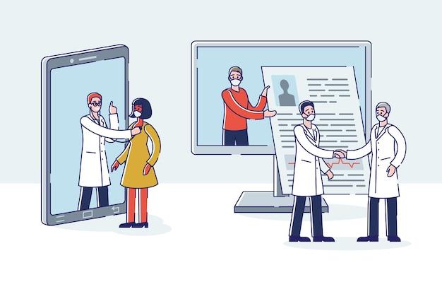 Medici online persone che prenotano incontri con i medici