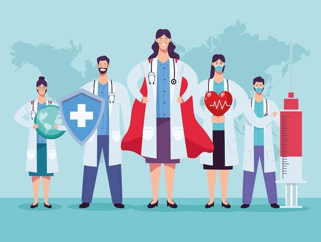 Gruppo di personale di medici con scudo e illustrazione cardio cuore