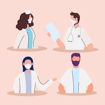 Personale dei medici che indossa l'illustrazione dei caratteri delle maschere mediche