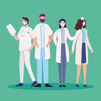 Personale di medici che indossa maschere mediche in piedi caratteri illustrazione