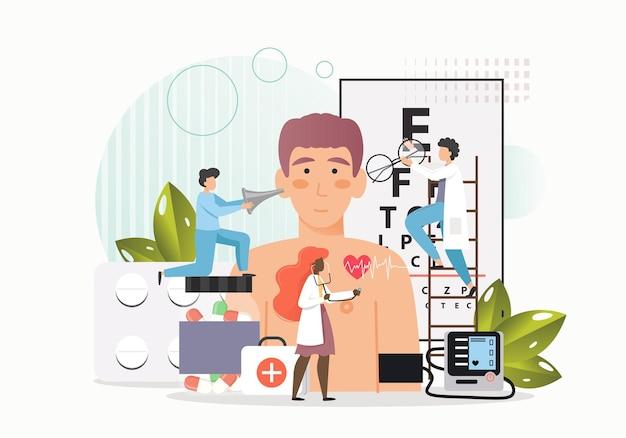 Medici, minuscoli personaggi maschili e femminili che esaminano la vista del paziente, la salute del cuore e delle orecchie