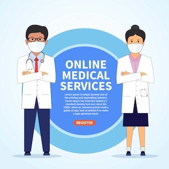 I medici che indossano la maschera facciale, contattano le informazioni del virus della corona, registrano la sanità online dello smartphone - illustrazione.