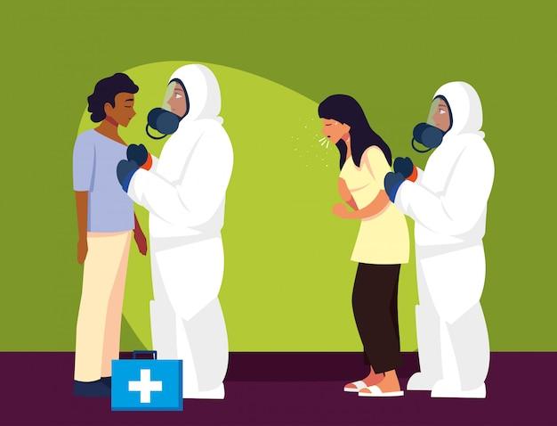 Medici con tute protettive controllando il disegno vettoriale di persone
