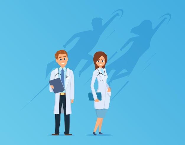 Medici con l'ombra dei supereroi. equipe medica, lavoratori ospedalieri carini e forti. illustrazione di vettore della metafora di potere della medicina. supereroe medico, ombra dell'eroe forte, lavoro di squadra sulla salute