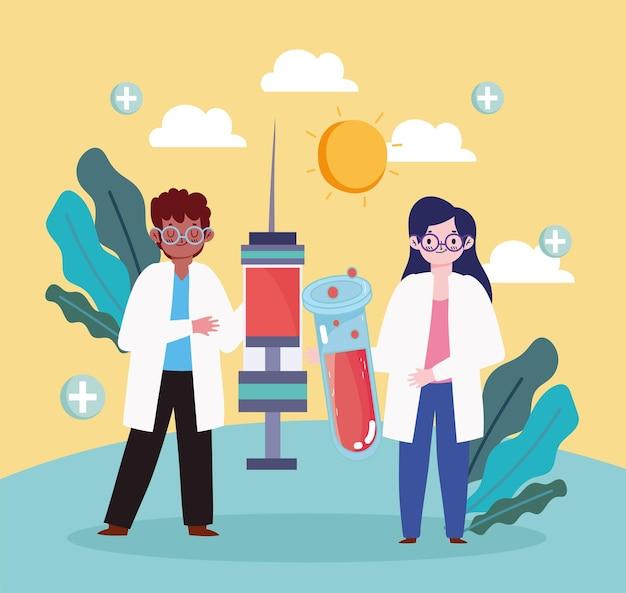Medici con la siringa del vaccino