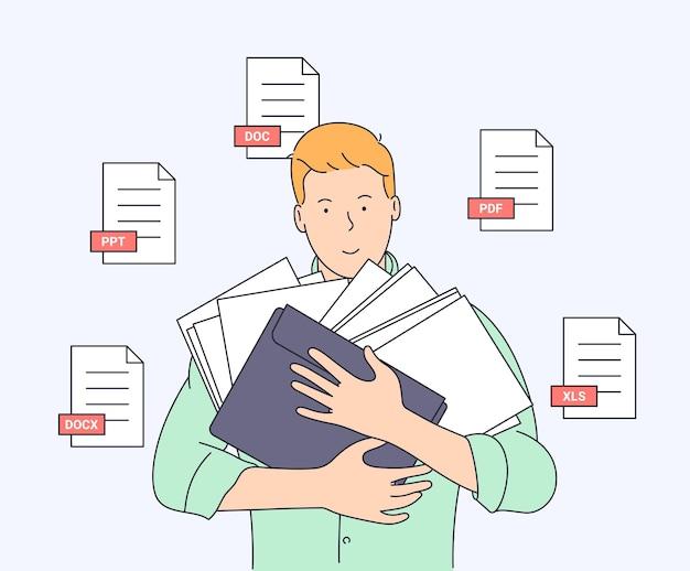 Documento, affari, contabilità, concetto di ricerca. giovane uomo sorridente con alcuni documenti pronti a lavorare.