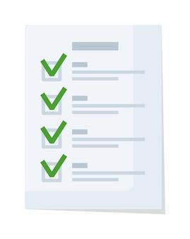 Lista di controllo del documento o modulo di domanda con segno di spunta